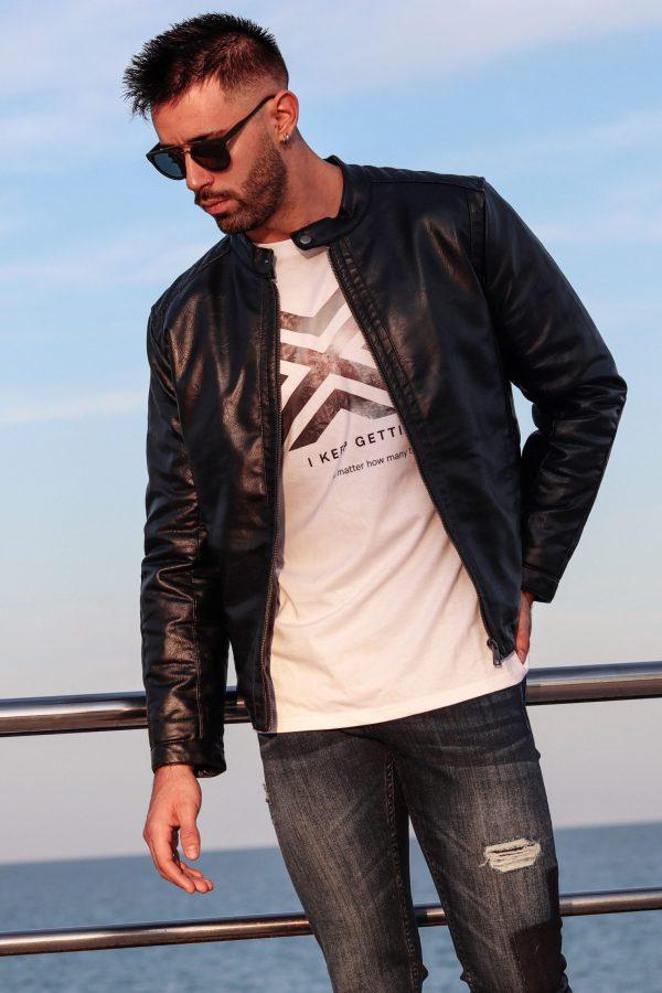 racer jacket black skin